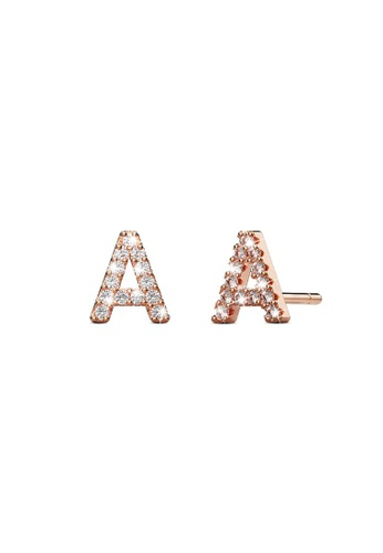 925 Signature silver 925 SIGNATURE Solid 925 Sterling Silver Glamour Alphabet Letter Earrings Rose Gold - A 6BACCAC9B9A1B0GS_1