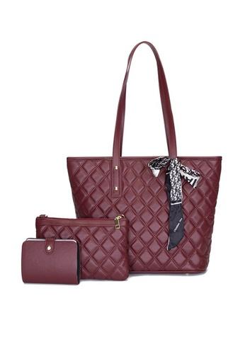 Lara red Women's Minimalist Plain Rhombic Embossed Leather Zipper Tote Bag (3-piece Set) - Wine Red 6C6DDAC81BFF8AGS_1