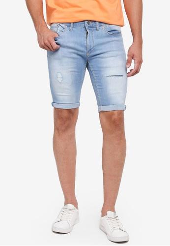 River Island 藍色 Ripped Skinny Shorts 71560AA705508CGS_1