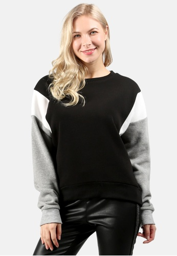 London Rag black Color Block Sweatshirt DC5CCAA90983FAGS_1