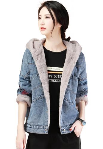 A-IN GIRLS blue Fashion Plus Velvet Hooded Denim Jacket 889E2AAE307152GS_1