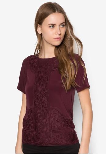 蕾絲拼接短袖上衣, 服zalora 包包評價飾, 上衣