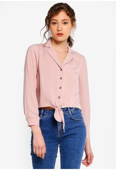 49f6ccd14a484f Miss Selfridge pink Petite Nude Tie Front Shirt CD1A4AA039F019GS_1