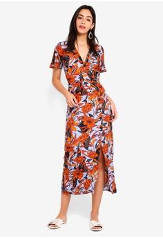 4b718a741882 60% OFF Miss Selfridge Floral Button Wrap Midi Dress RM 279.00 NOW RM  111.90 Sizes 6