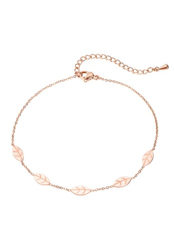 Bullion Gold 金色 BULLION GOLD Falling Leaves Chain Anklet in Rose Gold Layered Steel Jewellery 8B5FFAC64C679DGS_1