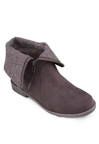 反折筒蕾絲鉤花踝靴, 女esprit門市地址鞋, 鞋