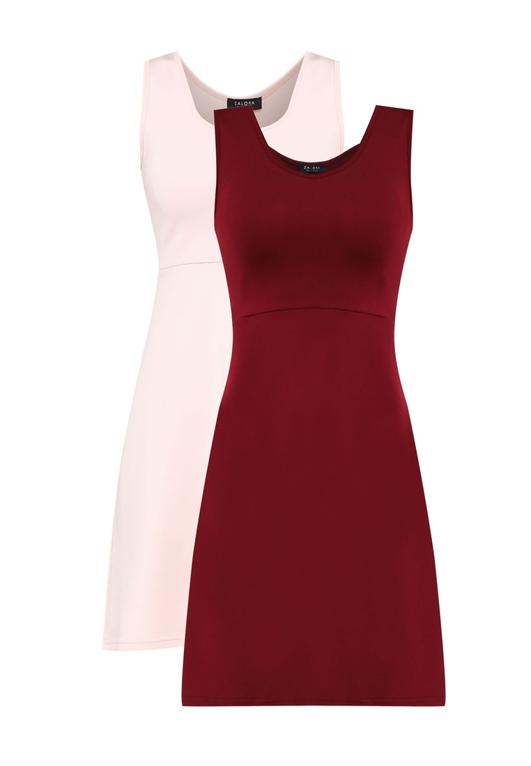 2 Dress amp; pack Neck Scoop ZALORA Maroon BASICS Fit Blush Flare Basic HUapHBTcRq
