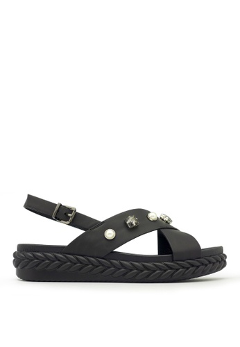 Carlo Rino black Carlo Rino 333070-190-08 Slingback Flat Sandal (Black) CAA35SHA3E760BGS_1