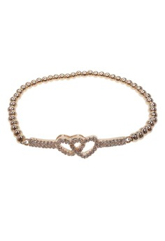 Beaded Crystal Linked Hearts Bracelet