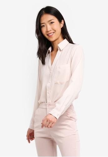 ZALORA BASICS pink Basic V-Neck Oversized Shirt 23000AA3A135DAGS_1
