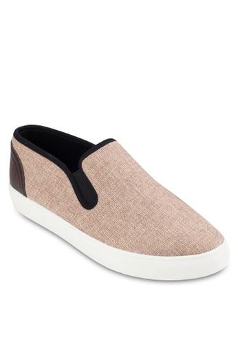 皮革拼接暗紋紡織懶人鞋, 鞋zalora開箱, 鞋