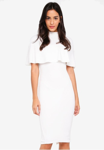 MISSGUIDED white Over Frill Shoulder Midi Dress 257FEAA83B7DB2GS_1