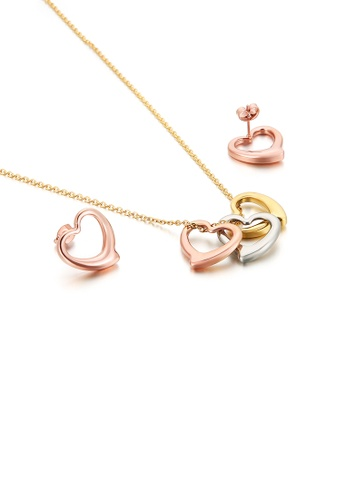 Glamorousky silver Simple and Sweet Plated Gold Hollow Heart-shaped 316L Stainless Steel Necklace and Earrings Set 6D2E7ACB3A9924GS_1