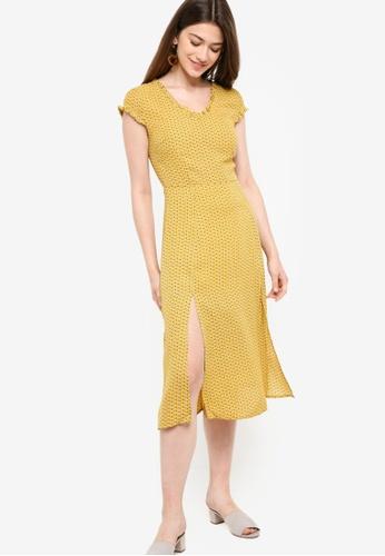 Something Borrowed yellow Double Slits Midi Dress 064CAAA21FF195GS_1