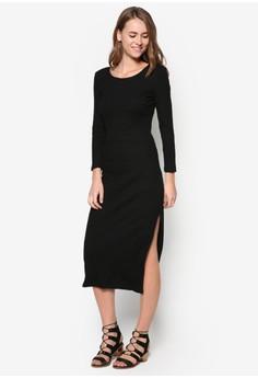 Basic Midi Bodycon Rib Dress