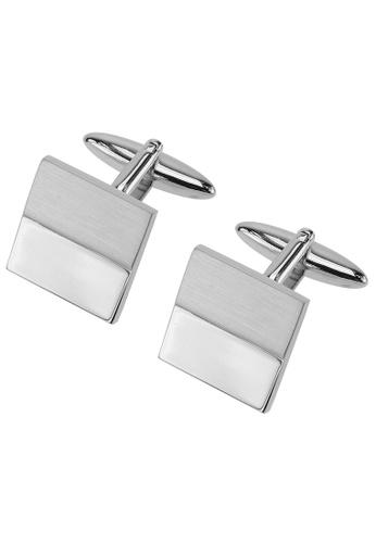 CUFF IT silver Half Divided Polished and Matt Rhodium Cufflinks CU047AC44HXNHK_1