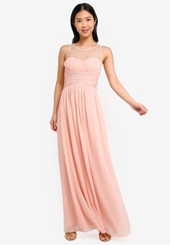 1ab5825ebca Shop Little Mistress Pale Pink Pearl Maxi Dress Online on ZALORA ...