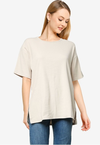 Cotton On grey and silver Bella Drop Shoulder Short Sleeve Top BDF2BAA0A7F0D9GS_1