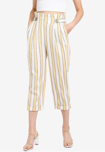 half off color brilliancy best quality Petite Linen Blend Stripe Peg Trousers