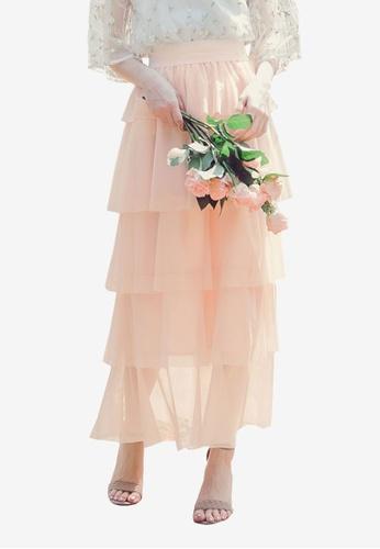 Yoco beige Pleated Layer Skirt E22E8AAE496B57GS_1