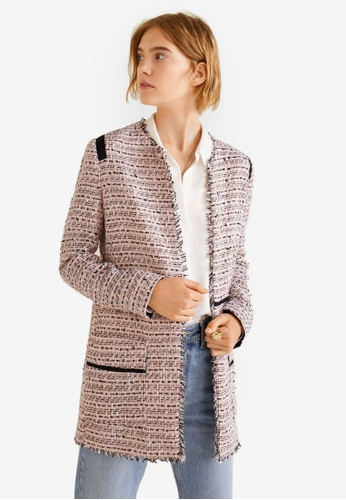 Mango beige Pocket Tweed Jacket 1852FAA407B7FBGS_1