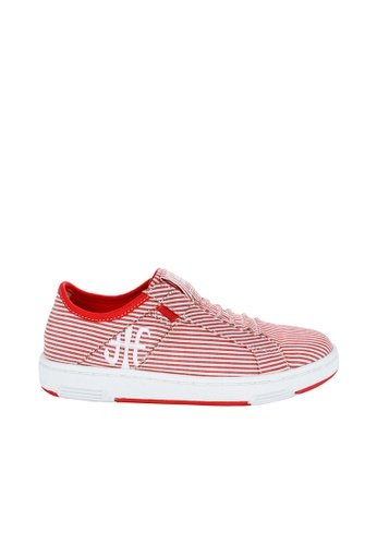 Royal Elastics white and red Icon Washed Cotton Sneakers RO796SH2UYLCHK_1