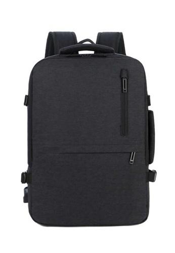 Lara black Men's Capacious Water Repellent Nylon Zipper Plain Backpack - Black 95D54AC4547BDDGS_1