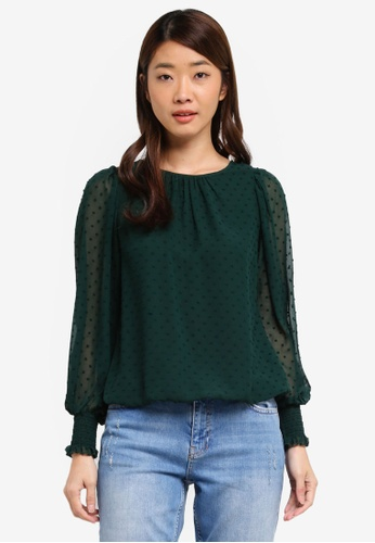 Dorothy Perkins green Petite Green Shirred Cuff Blouse 6AAB6AAFF1EE9AGS_1