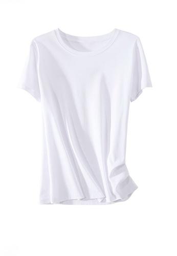 Twenty Eight Shoes white VANSA Round Neck Mercerized Cotton Short-sleeved T-Shirt VCW-Ts1902U D8952AA6BE2B93GS_1