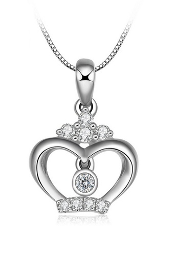 LYCKA silver LFF1231-LYCKA-S925 Silver White Zircon Royal Crown Necklace -Silver LY529AC0HACFSG_1