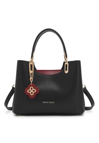 Swiss Polo black Faux Leather Top Handle Bag 91336ACD4E8C5FGS_1