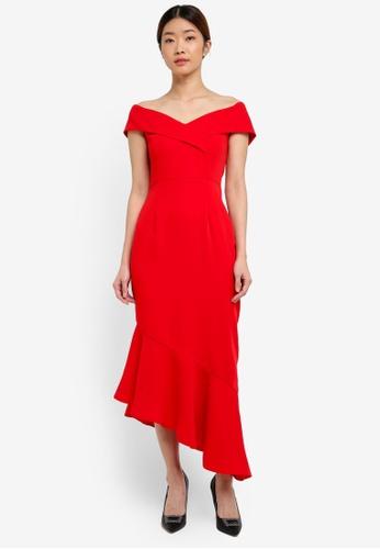 Lavish Alice red Woven Bardot Asymmetric Dress LA457AA0T1O3MY_1