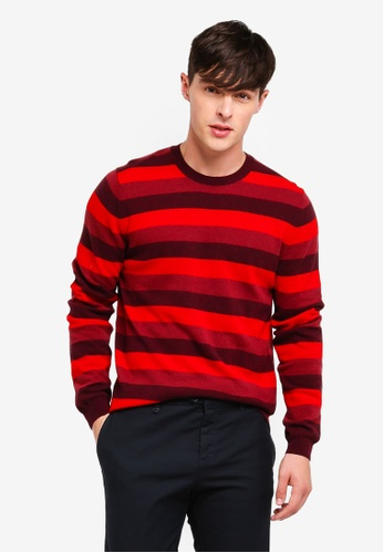 United Colors of Benetton red Round Neck Stripe Knit Sweater 04B0FAACA9B658GS_1