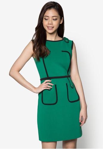 Dynzalora 台灣門市asty 撞色滾邊連身裙, 服飾, 正式洋裝