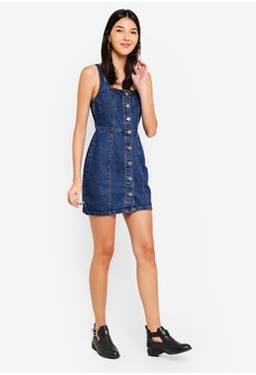 fa42ba9976eb4a 55% OFF Cotton On Denim Pinafore Dress RM 135.00 NOW RM 60.90 Sizes 4