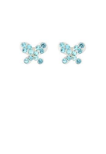 Glamorousky green Mini-butterfly Earrings with Blue Austrian Element Crystal EEB14ACF569E1AGS_1