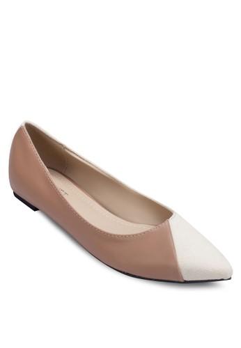 異材質拼接撞色平底鞋, 女鞋zalora鞋, 芭蕾平底鞋