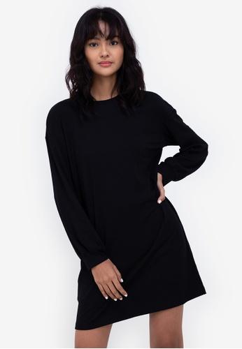 ZALORA BASICS black Rib Sweater Dress 65738AAD75B480GS_1