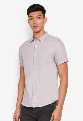 Burton Menswear London grey Grey Short Sleeve Linen Shirt 72FB9AAC57EF85GS_1