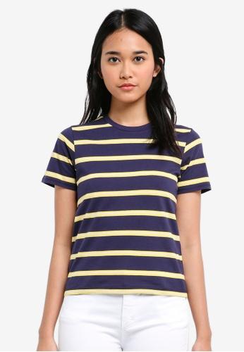 TOPSHOP navy 70's Striped T-Shirt E4075AA81C59EBGS_1