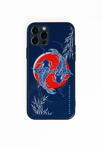 House of Avenues blue Luck Fish Tempered Glass Shell Phone Case For iPhone 12 Pro AF342AC23299AAGS_1