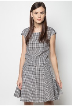 Checkered Top and A-Line Skirt Set