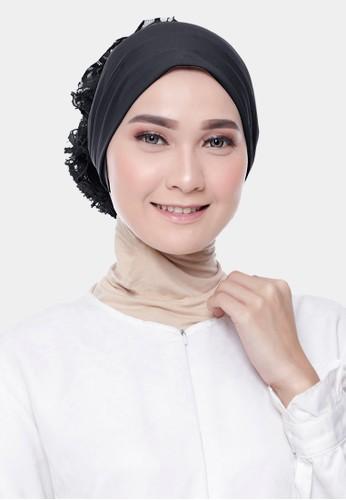 zelena black Dalaman Hijab Inner  Ciput Turkey Brokat - Black Swan A662CAA75414D5GS_1