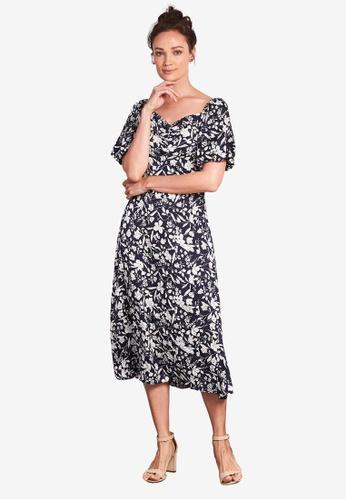 Nichii 海軍藍色 Puff Sleeves Floral Hem Dress 110BCAA6A2D637GS_1