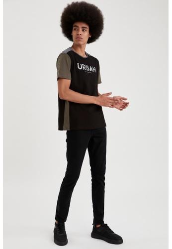 DeFacto black Short Sleeve Round Neck Cotton Printed T-Shirt B4F4CAAD28AB6EGS_1