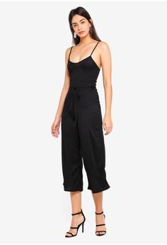 631992480404 MISSGUIDED Black Rib Culotte Jumpsuit RM 89.00. Sizes 6 8 10 12 14