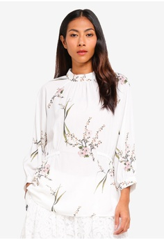 5879275671faf8 BYSI white Blossom Print Puff Blouse 61A67AA8F6EFAEGS 1