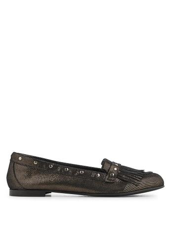 Minelli brown F61 128/MET Fringed Metallic Textured Leather Loafers - Lula MI352SH0FJF2SG_1