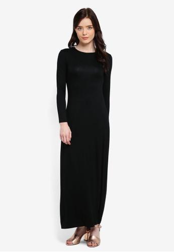 Zalia black Long Sleeve Basic Dress 6B8BEAAD521346GS_1