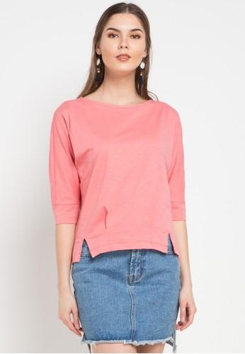 Exit pink Tiara Midi Sleeves Shirt 36E2AAA9E14954GS_1